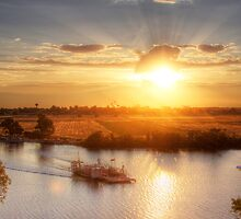Ferry Crossing the River Murray - Sunset at Talem Bend, South Australia by Mark Richards