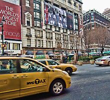 Macy's NYC and the yellow taxi by Steve  Ellis
