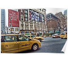 Macy's NYC and the yellow taxi Poster