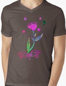 RETRO-Floral Decal Mens V-Neck T-Shirt