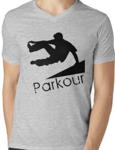 Parkour Plain Mens V-Neck T-Shirt