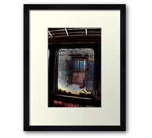 Train View on a Snowy Day Framed Print