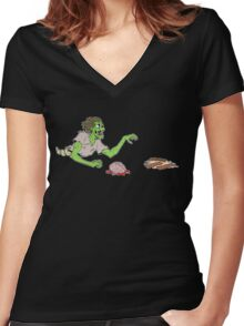 Bacon Zombie Women's Fitted V-Neck T-Shirt