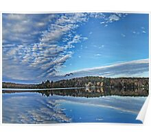 Fall Autumn Trees, Clouds & Blue Sky Reflecting on Lake w/ Gull Flying over Water Poster