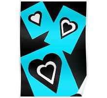 Hearts in Black Turquoise and White No Text Poster