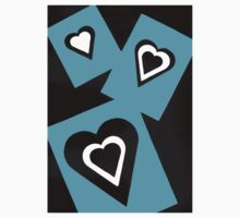 Hearts in Black Turquoise and White No Text Baby Tee