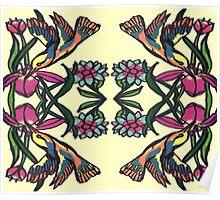 Whimsical Hummingbirds Poster