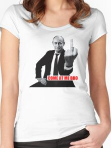 Finger Funny Come at me Bro white t-shirt TC9496 Women's Fitted Scoop T-Shirt
