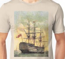 "A digital painting of  The ""Victory"" (Nelson's Flagship) Portsmouth, Hampshire, England 19th century Unisex T-Shirt"