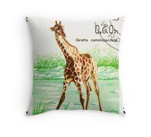 Giraffe stamp. Throw Pillow