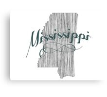 Mississippi State Typography Canvas Print