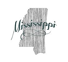 Mississippi State Typography Photographic Print