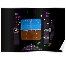 Technology: airplane instrument panel. Poster