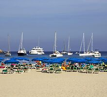 Yachts and Beach Umbrellas by Tom Gomez