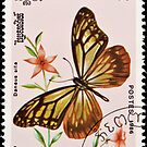 Stamp, butterfly and flower. by FER737NG