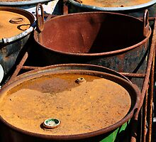Old rusty waste barrels. by FER737NG