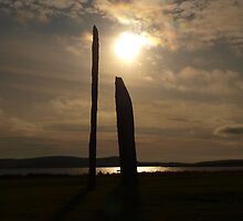 Stones of Stenness Setting Sun by kalaryder
