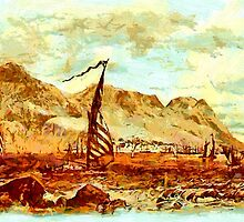 The Rock of Gibraltar from Spain in the 19th century by Dennis Melling