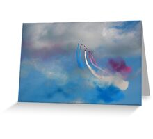 The Red Arrows and a coloured sky Greeting Card