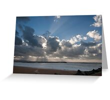 Powerful rays of sunlight during a storm day Greeting Card