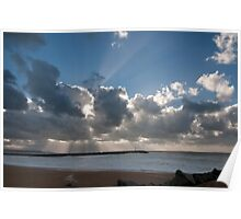 Powerful rays of sunlight during a storm day Poster