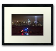 9/11 tribute of lights Framed Print