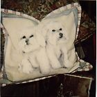 Bichon Frise party on a pillow by Linda Costello Hinchey