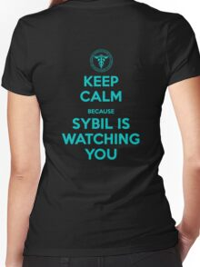 Keep Calm, Sybil is watching you Women's Fitted V-Neck T-Shirt