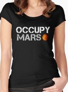 Occupy Mars Black Women's Fitted Scoop T-Shirt