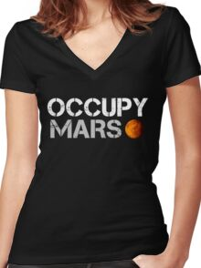 Occupy Mars Black Women's Fitted V-Neck T-Shirt