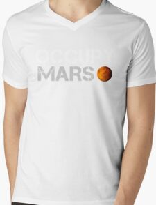 Occupy Mars Black Mens V-Neck T-Shirt