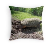 Snapping Turtle burying her eggs Throw Pillow