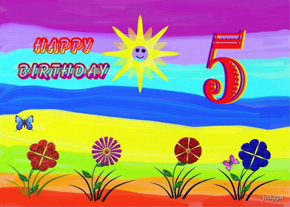 Childs Rainbow  5th Birthday Card by judygal