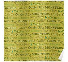 Green Halloween Words Poster