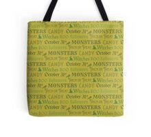 Green Halloween Words Tote Bag