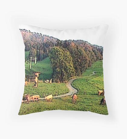 "Grazing In The Alps - Koblach, Austria" Throw Pillow