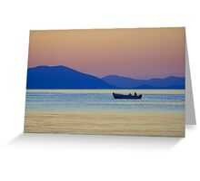 Single Fishing Boat Gliding by the Peloponnese. Greeting Card