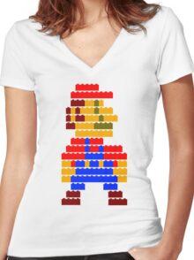 8-bit brick mario  Women's Fitted V-Neck T-Shirt