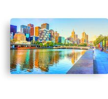 Oil on Canvas - Melbourne Skyline Yarra Reflections Metal Print