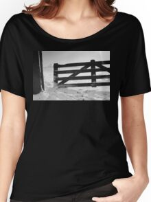 Fence in snow landscape Women's Relaxed Fit T-Shirt