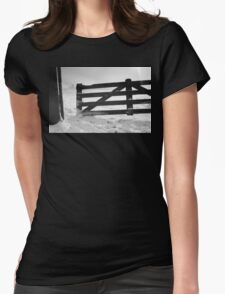 Fence in snow landscape Womens Fitted T-Shirt
