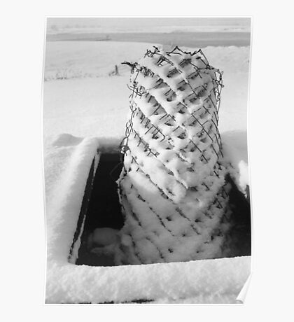 Chicken wire in snow Poster
