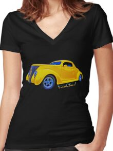 Yellow Ford Coupe T-Shirt Women's Fitted V-Neck T-Shirt