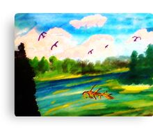 Early morning on the River, watercolor Canvas Print