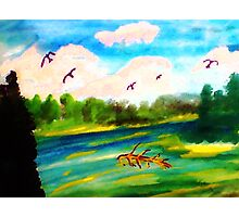 Early morning on the River, watercolor Photographic Print