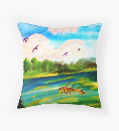 Early morning on the River, watercolor Throw Pillow