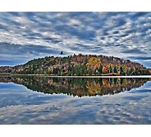Gull in Flight over Lake - Fall Autumn Forest, Clouds & Blue Sky Reflections in Water Photographic Print