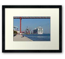 cruise ship Ventura, Port of Lisbon, Portugal Framed Print