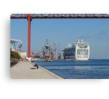cruise ship Ventura, Port of Lisbon, Portugal Canvas Print