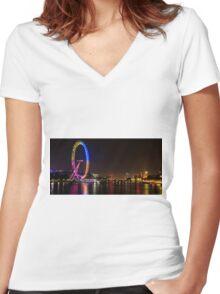 London eye  Women's Fitted V-Neck T-Shirt